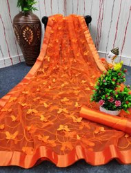 Lace Multy Designer Embroidered Saree, With blouse piece, 5.5 m (separate blouse piece)