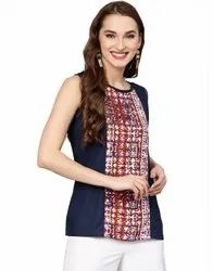 Jaipur Kurti Women Blue Solid Embroidered Rayon Top