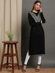 Janasya Women's Black Woolen Kurta (J0322)