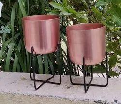 Round Decorative Metal Planter, For Decoration