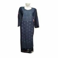 Rayon Party Wear Ladies Blue Long Kurti, Size: XL, Wash Care: Handwash