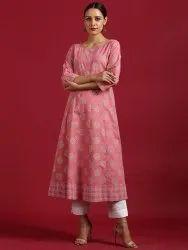 Janasya Women's Pink Cotton Kurta(JNE3577)