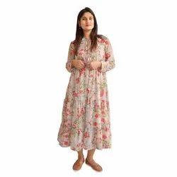 Casual Peach Floral Maxi Dress