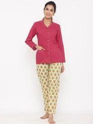 Casual Wear Jaipur Kurti Women Magenta Ethnic Print Cotton Night Suit