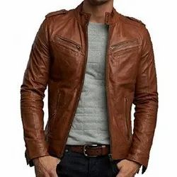 Casual Jackets Mens Full Sleeve Brown Leather Jacket