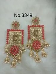Red and Golden Brass 3349 Ladies Fashion Earrings
