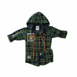 Cotton Party Wear Kids Designer Check Printed Hooded Shirt