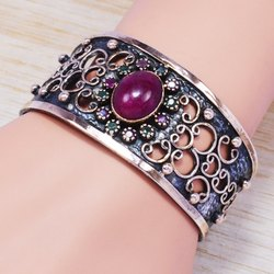 925 Sterling Silver And Brass Handmade Jewelry Ruby Gemstone Bangle SJWB-77