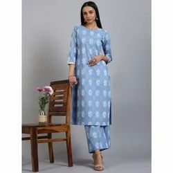 Janasya Women's Blue Cotton Kurta With Palazzo (Set230)