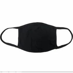 Black Cotton Ear Loop Reusable Face Mask, Number of Layers: 3 Layers