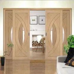 Brown Polished Two Panel Designer Wooden Door