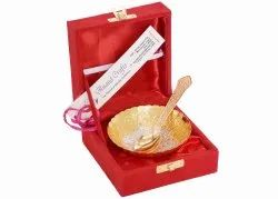 Anand Crafts Silver And Gold Plated German Silver Bowl Spoon Set