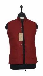 Casual Wear Female Women Maroon Quilted Sleeveless Jackets