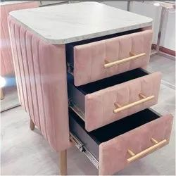 Pink Bedside Drawer Table, For Home