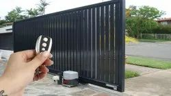Black Mild Steel Gate Automation Remote operated Sliding Gate, For Industrial