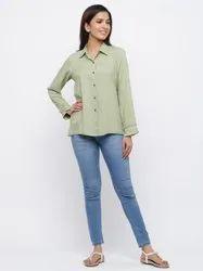Jaipur Kurti Women Green Solid Straight Viscose Rayon Shirt