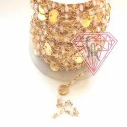 Pink Chalcedony Coin Rosary Chain