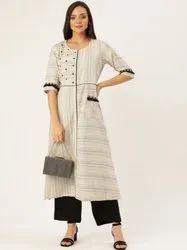 Jaipur Kurti Women Off White & Black Embroidered A Line Cotton Blend Kurta With Palazzo