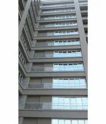 Toughened Glass Balcony Railing, For Office, Shape: Flat