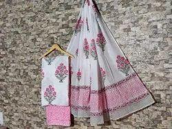 Multicolor Unstitch Hand Block Printed Cotton Suit Set With Mul Mul Cotton Dupatta, Handwash
