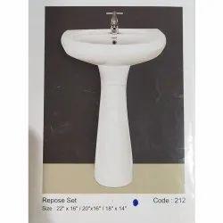 Roxo Ceramic Repose Set Pedestal Wash Basin, For Bathroom