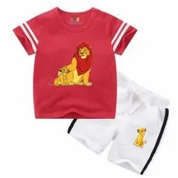 Red Casual Kids Boys Top With Shorts