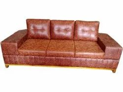 Leather Fancy Brown Three Seater Sofa, 5 Inch