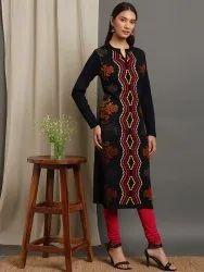 Janasya Women''s Black Woolen Kurta(J0289)