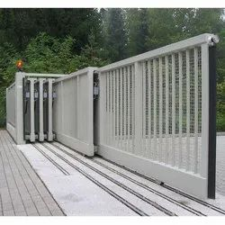 White Mild Steel Automatic Telescopic Sliding Gate, For Commercial