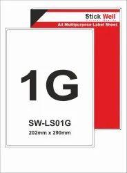 A4 LABEL SHEET LS01G ( 202mm X 290mm ) STICKWELL