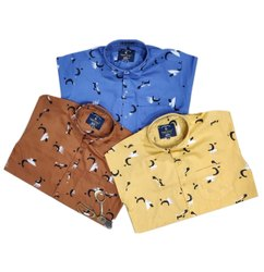Printed Collar Neck Mens Stylish Casual Cotton Shirt