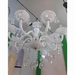 Crystal Glass and Metal Hanging White LED Chandeliers Light
