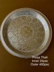 SILVER Round Pooja Thali, Dimension: Size 11
