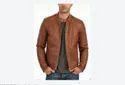 Full Sleeve Mens Casual Wear Tan Leather Jacket