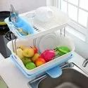 2 Tier Large Kitchen Sink Dish Drying Basket Stand