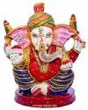 Resin Handicrafts Meenakari Turban Ganesha Statue Religious Indian Hindu God idol