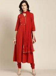 Jaipur Kurti Rust embroidered anarkali with churidar & dupatta
