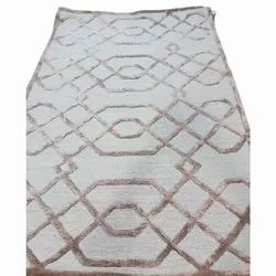 Brown And White Woolen And Silk Designer Hand Tufted Wool Carpet, For Floor, Size: 4x7 Feet