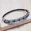 925 Sterling Silver Jewelry Garnet Gemstone Adjustable Bangle SJWB-3