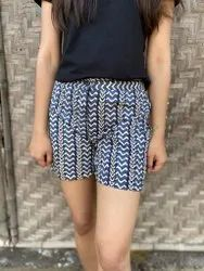 Cotton Printed Shorts With Inner Lining..