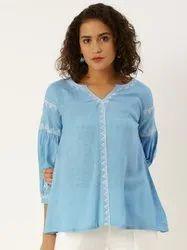 Jaipur Kurti Blue Rayon Slub Embroidered Top