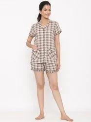 Jaipur Kurti Women Brown Checks Print Straight Shirt And Short Pant Night Suit