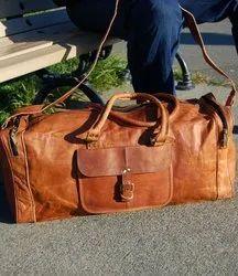 Vintage Handmade Leather Duffel Overnight Weekender Travel Sports Gym Bag