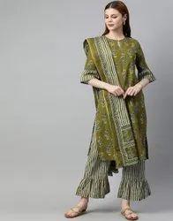 Jaipur Kurti Women Olive Ethnic Motifs Straight Cotton Kurta, Palazzo With Dupatta