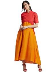 Jaipur Kurti Women's Peach South Cotton Shrug & Yellow South Cotton Inner