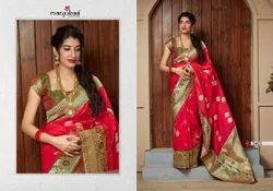 Party Wear Printed Banarasi Saree, 6 m (with blouse piece)