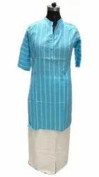 Casual Wear Straight Ladies Designer Sky Blue Cotton Kurti, Wash Care: Handwash