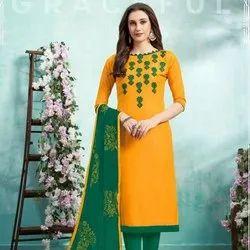 Cotton Suit Fancy Lace Border With Chiffon Dupatta
