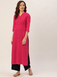 Jaipur Kurti Pink Pin Tucks Solid Straight Kurta With Solid Rayon Palazzo