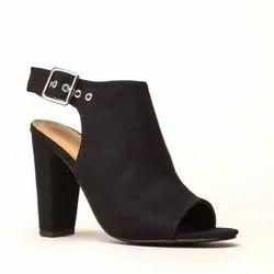 Black Maroon Ladies Block Heel Sandals, Size 36-41